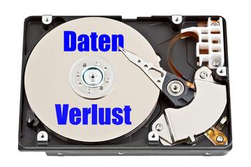 Festplatte mit Aufschrift - Datenverlust - Datenrettung