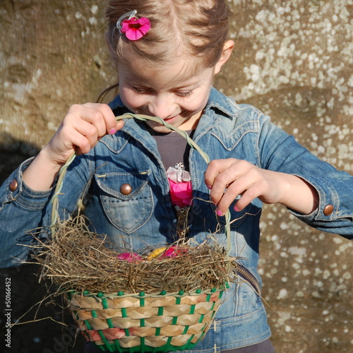 Little Girl Holding Easter Basket