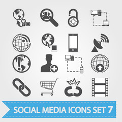 Social media related vector icons.