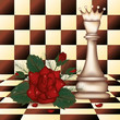 White Chess Queen and red rose. vector illustration