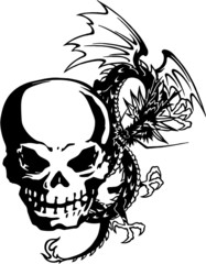 頭蓋骨とドラゴン