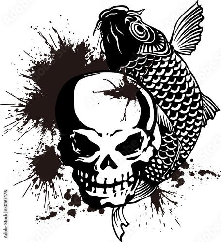 頭蓋骨と鯉