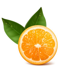 fresh ripe orange with leafs