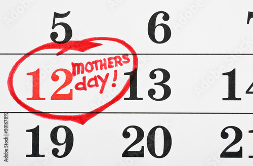 calendar with the date marked Mother's Day