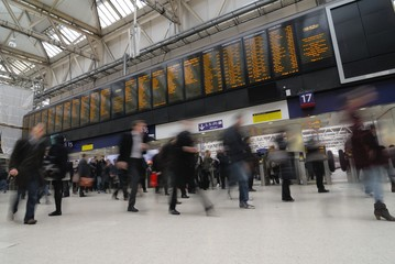 Rush hour at Waterloo train station, London
