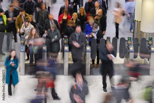 Rush hour at Waterloo train station, London