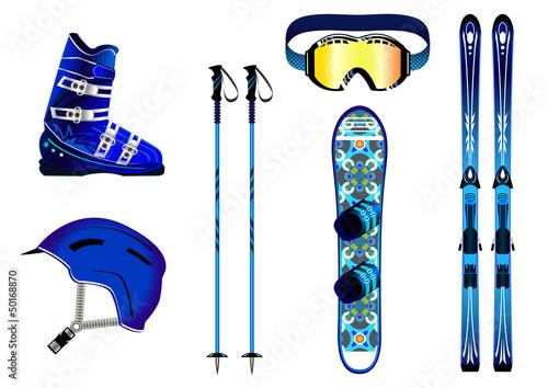 Fototapeta Matériel de ski - couleur Homme - montagne