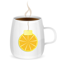 cup with tea and lobule of lemon