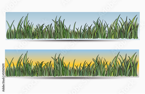 Banners with grass and sun