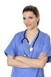 Portrait of woman doctor in blue uniform