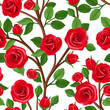 Seamless background with branches of red roses. Vector.