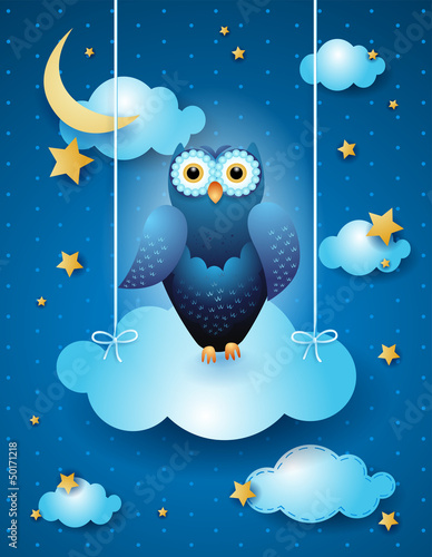 Owl in the sky, fantasy illustration