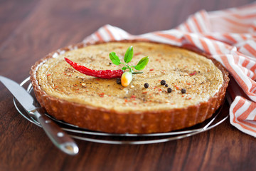 Tart with chicken liver and pepper, selective focus