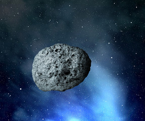 large asteroid flying in the universe