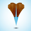 wooden blue Map Pointer Icon. Vector