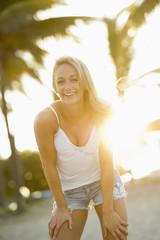 Caucasian woman enjoying the beach
