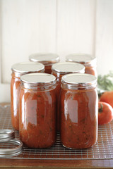Homemade tomato sauce in jars