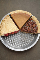 Various slices of fresh, homemade pies