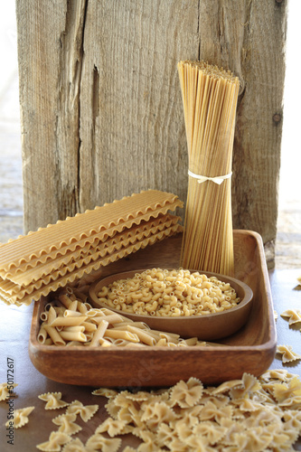 Various types of pasta noodles