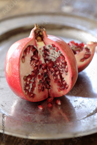 Cut open pomegranate