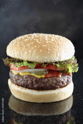 Close up of hamburger