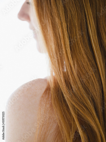 Close up of Caucasian woman's red hair