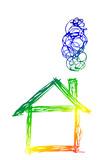Haus, Silhouette - Regenbogenfarben