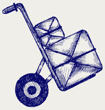 Hand truck with post packages. Doodle style