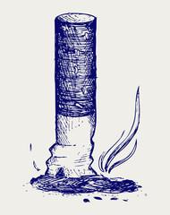 Cigarette butt. Doodle style