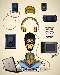 User with a laptop meditates surrounded devices
