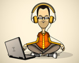 User in orange shirt and glasses with a laptop meditates