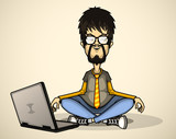 User in gray shirt and glasses with a laptop meditates