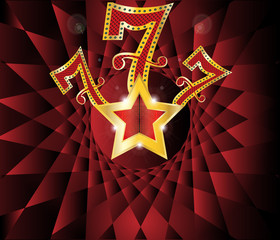 lucky seven 777 with gold star and reflection
