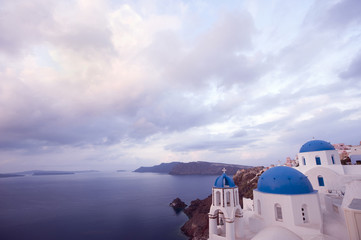 Orthodox Greek church overlooking ocean