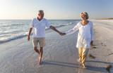 Happy Senior Couple Walking Holding Hands Tropical Beach - Fine Art prints