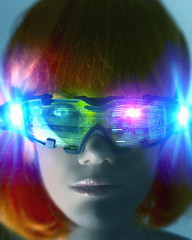 Futuristic Pacific Islander woman wearing digital eyeglasses