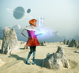Futuristic Pacific Islander woman standing on barren planet