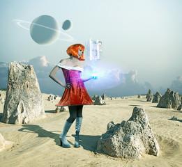 Futuristic Pacific Islander woman standing on barren planet