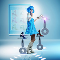 Futuristic Pacific Islander woman looking at shoes