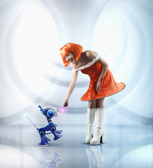 Futuristic Pacific Islander woman playing with robot dog