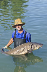 Hispanic man holding large sturgeon