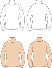 Vector fashion illustration of women's turtleneck