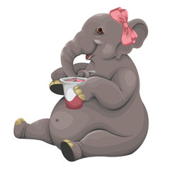 Elephant eats yogurt