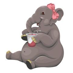 Elephant eats yogurt
