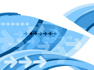 blue graphic arrows