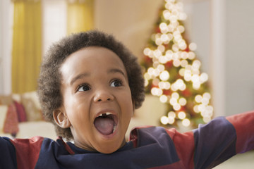 Excited Black boy at Christmas