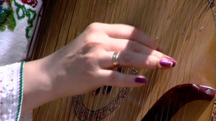 Artist playing bandura, close up