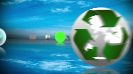 Renewable energy and recycling montage with copy space screens