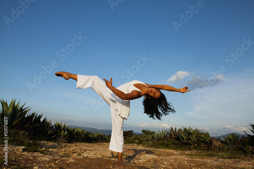 Woman dancing outdoors