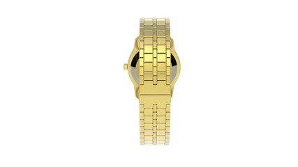 Gold watch rotates on white background